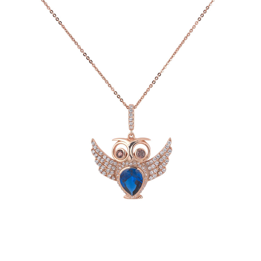 Owl Blue Teardrop Crystal Prong-set CZ's 18K Rose Gold over Sterling Silver Pendant Necklace