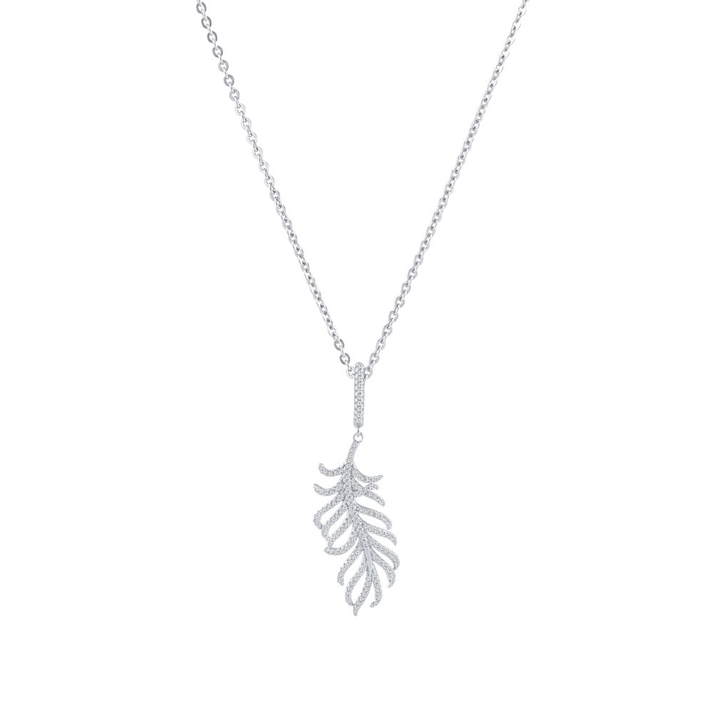Feather Prong-set CZ's Sterling Silver Pendant Necklace