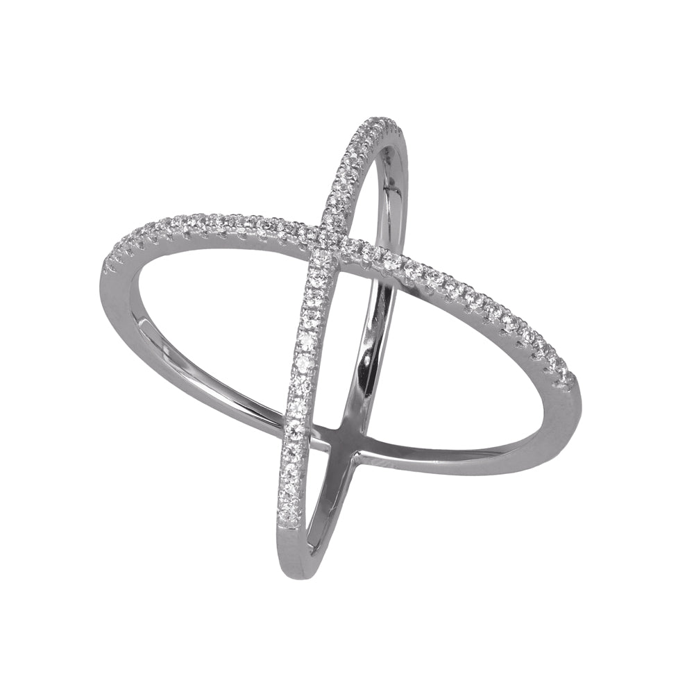 """Delicate"" Crisscross Prong-set CZ's Sterling Silver Ring"
