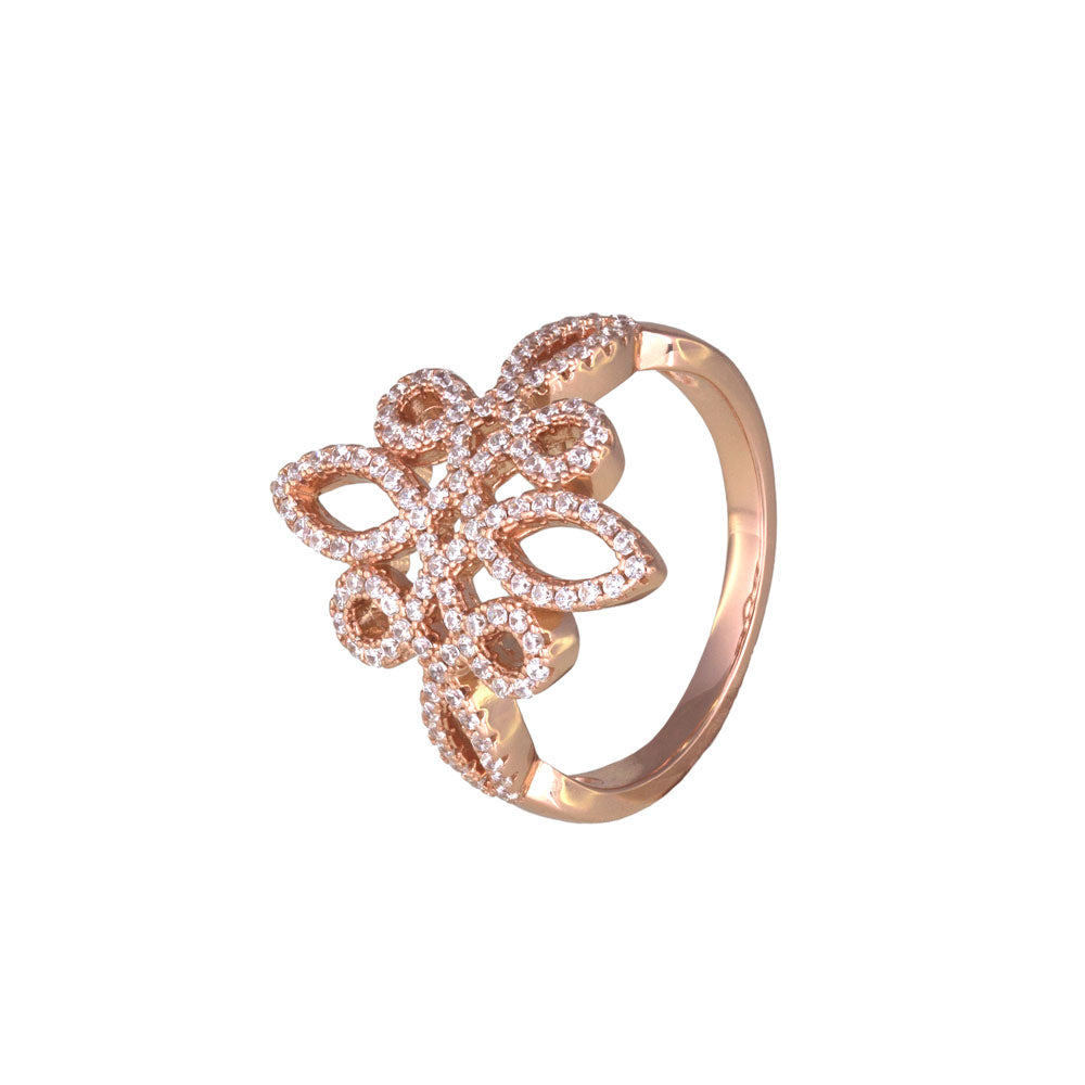 """Delicate"" Flower Prong-set CZ's Rose Gold Vermeil over Sterling Silver Ring"