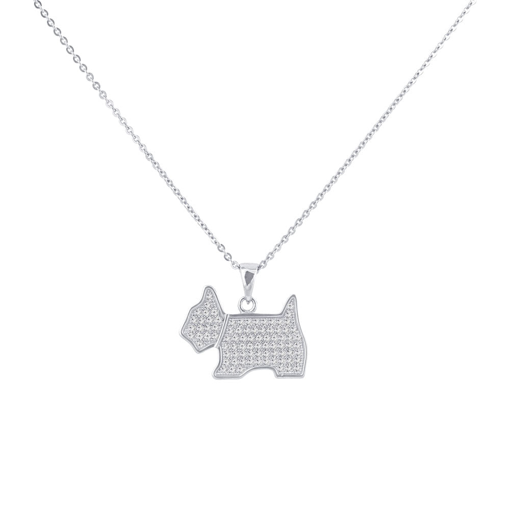 My Dog  Pave Prong-set CZ's Sterling Silver Pendant Necklace