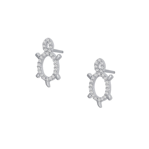 Turtle Prong-set CZ's Sterling Silver Post Earrings