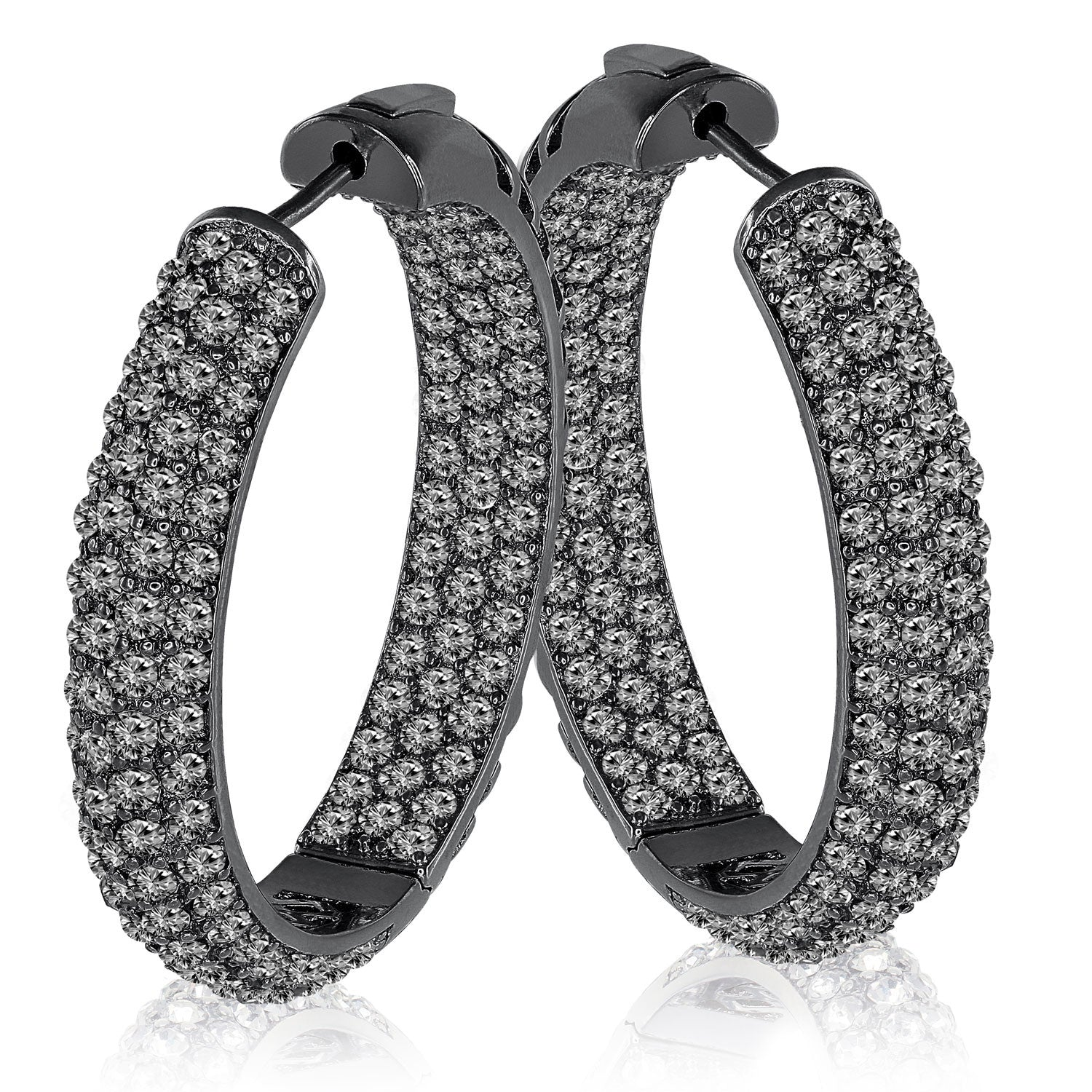 """The Midi"" Pave Crystal Inside-outside Hoop Earrings More Colors"