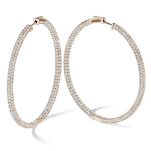 """The Grand"" 18K Rose Gold Plated Pave Crystal Inside-outside Hoop Earrings"