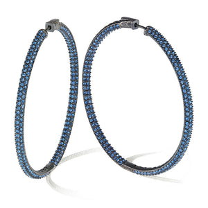 """The Grand"" Hematite Plated Pave Crystal Inside-outside Hoop Earrings"