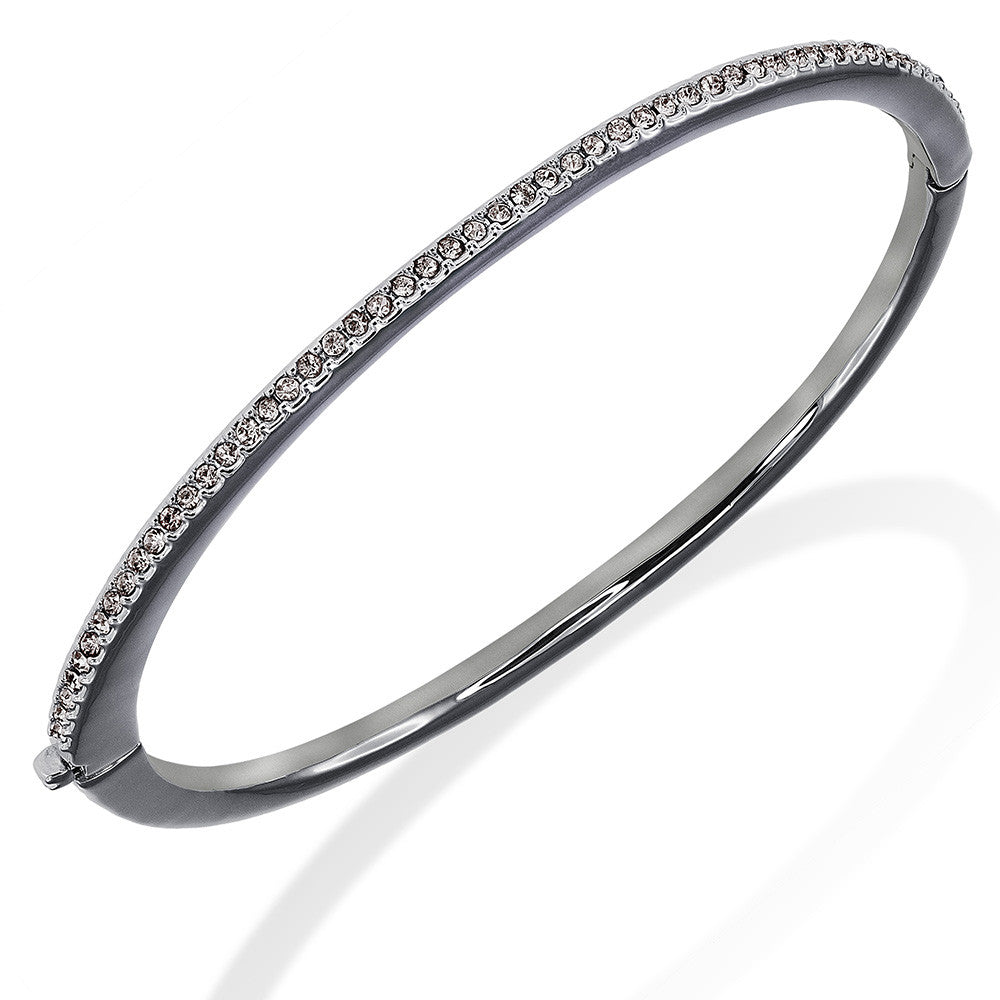 1-Row 18K Gold Plated Clear Pave Crystal Hinged Bangle Bracelet More Colors