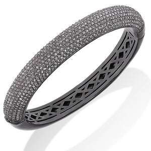 10-Row 18K Gold Plated Clear Pave Crystal Hinged Bangle Bracelet