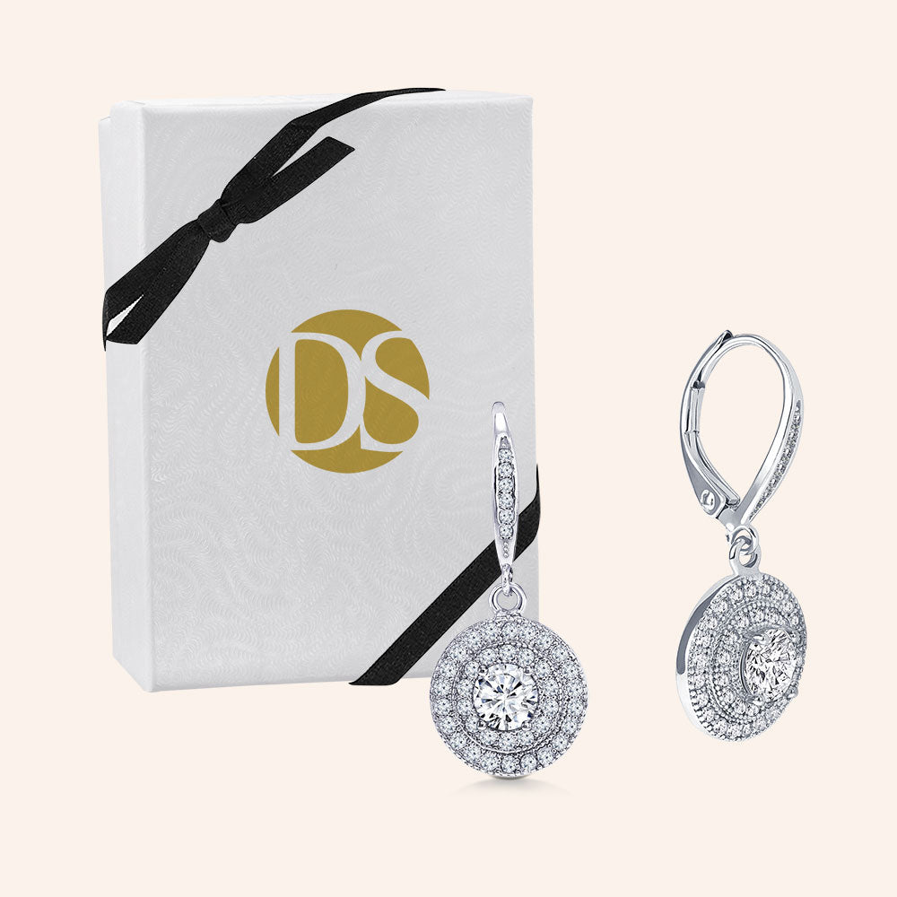 """DIANA"" 1.0CTW ROUND CUT PAVE HALO DANGLING EARRINGS - SILVER"