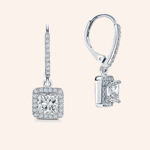 """Anne"" 2.0CTW Princess Cut Pave Halo Dangling Earrings"