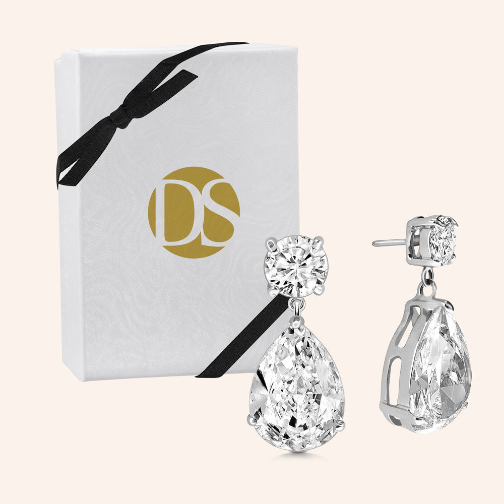 """Charlotte"" 14ct Round and Pear Cut Drop Earrings"