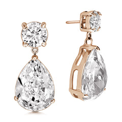 """Charlotte"" 14ct Round and Pear Cut Drop Earrings More Colors"