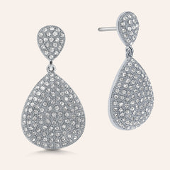 """Cate"" Pave Crystals Pear-Shaped Drop Earrings More Colors"