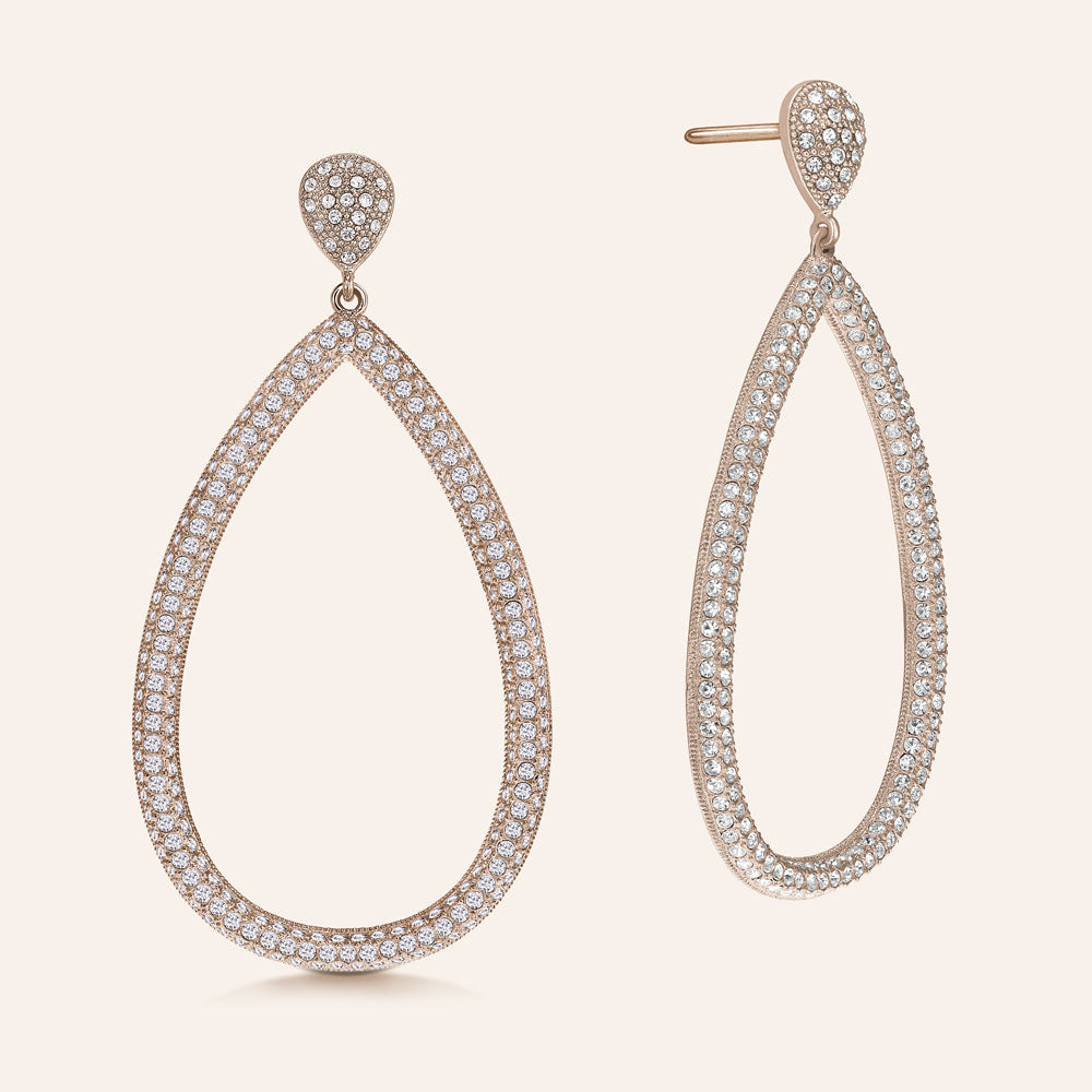 """Helen"" Pave Crystals Open Pear-Shaped Drop Earrings More Colors"