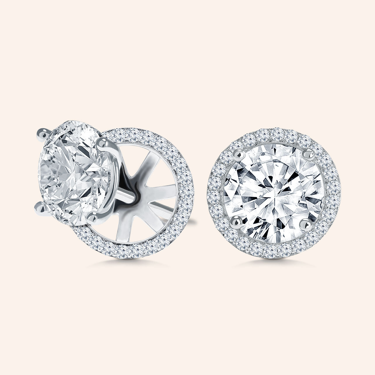cubic context p square halo silver stud large zirconia earrings
