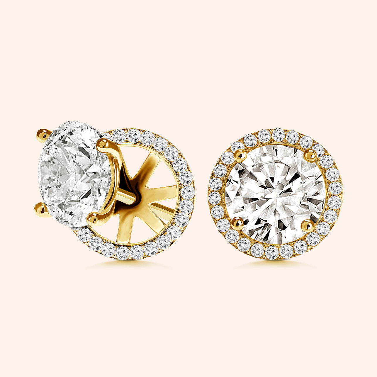 """Rachel""  8.5ct Round Cut Halo Stud Earrings and Jackets More Colors"