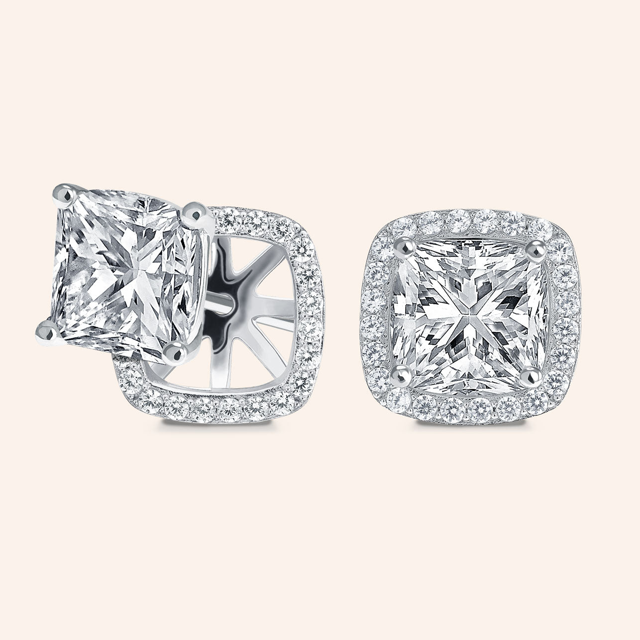 """Rachel"" 8ct Princess Cut Halo Stud Earrings and Jackets More Colors"