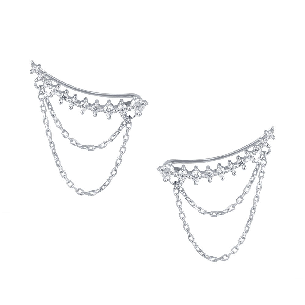 Diamond cut Prong-set CZ's Sterling Silver Chain Ear Crawlers