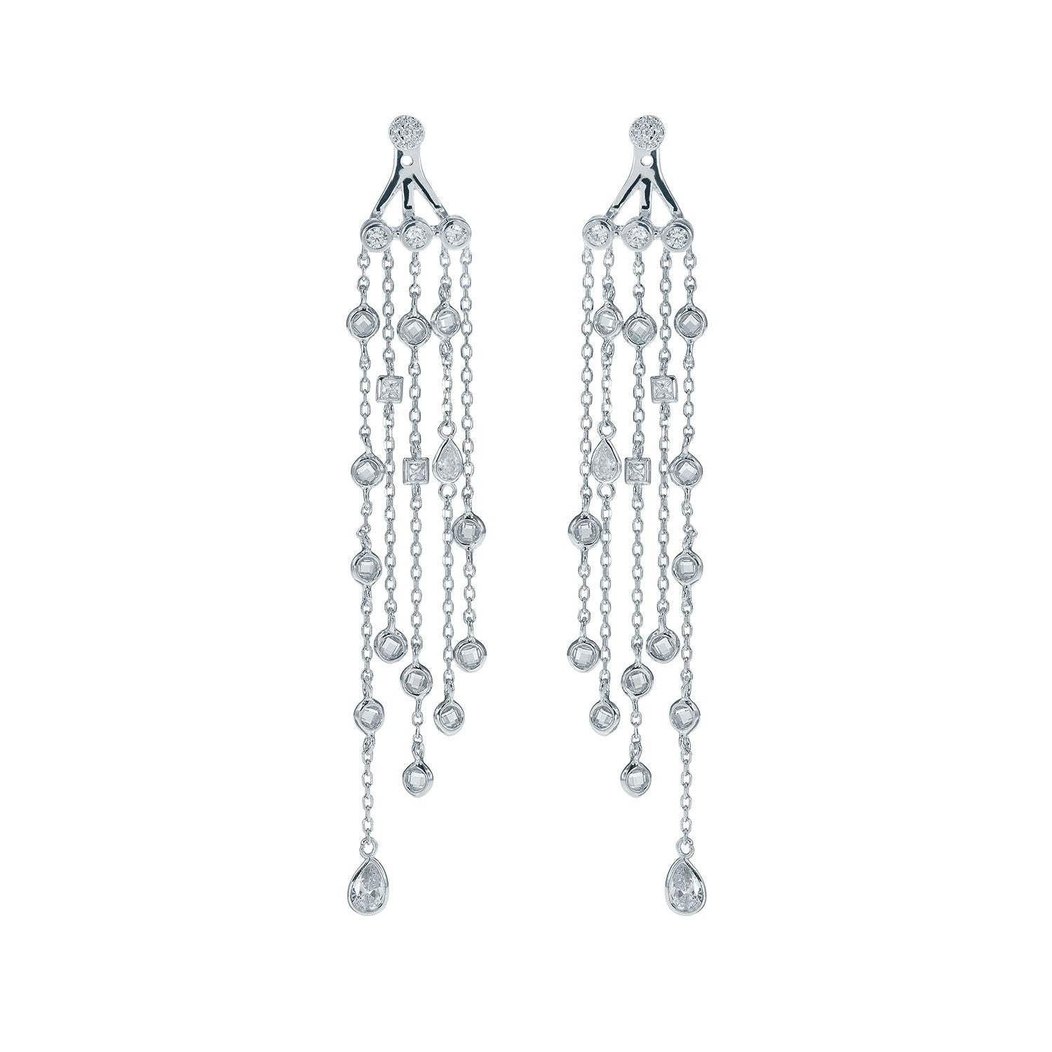 """DIAMOND PASSAGE "" STERLING SILVER CUBIC ZIRCONIAS FRONT BACK EARRINGS"
