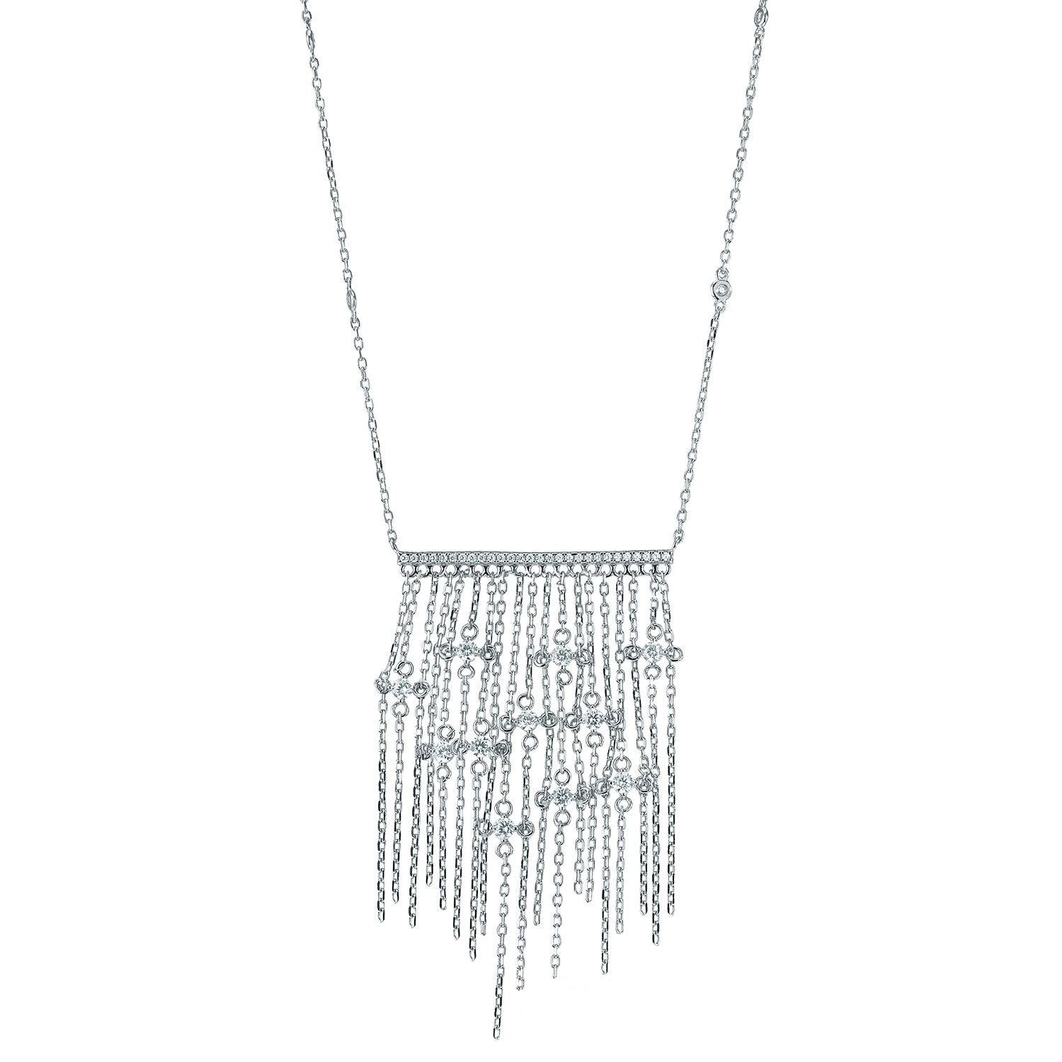 """Diamond Passage""  Fringe Drop Necklace - Sterling Silver"