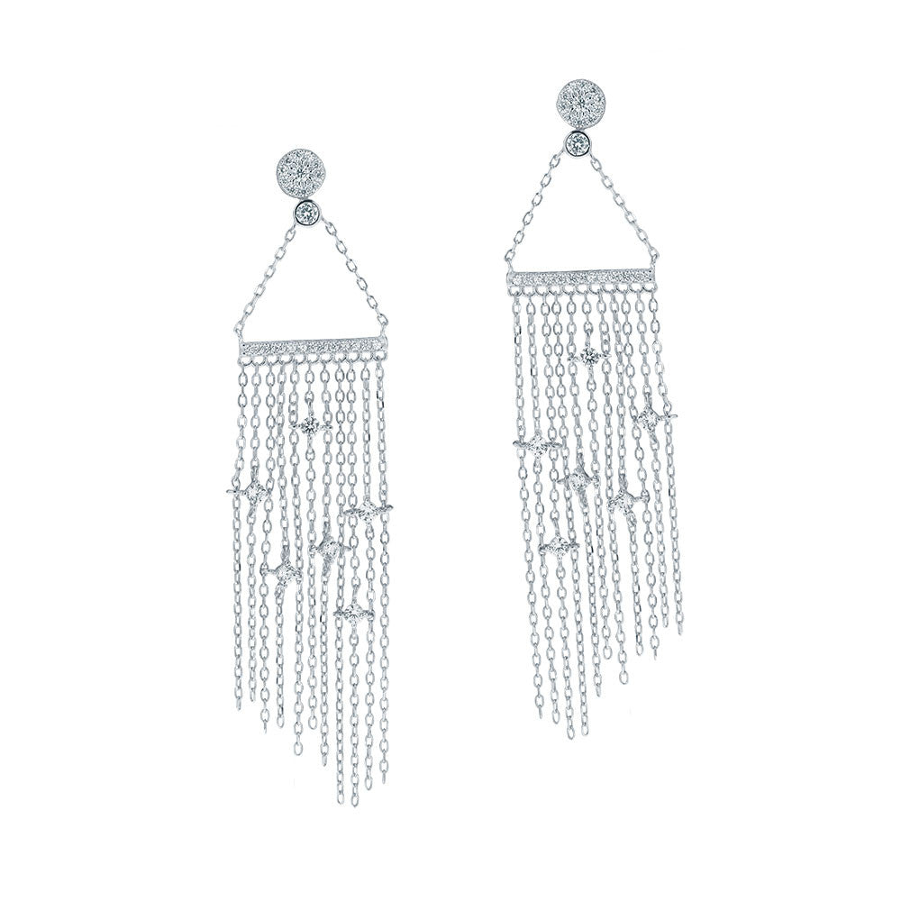 """Diamond Passage"" Statement Drop Earrings - Sterling Silver"