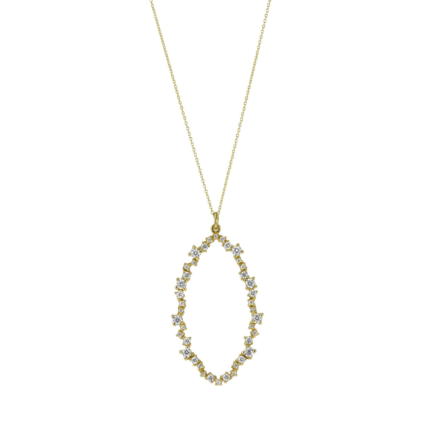 """CLUSTER LOVE"" 18K GOLD PLATED OVER STERLING SILVER CUBIC ZIRCONIAS OPEN PEAR PENDANT NECKLACE"