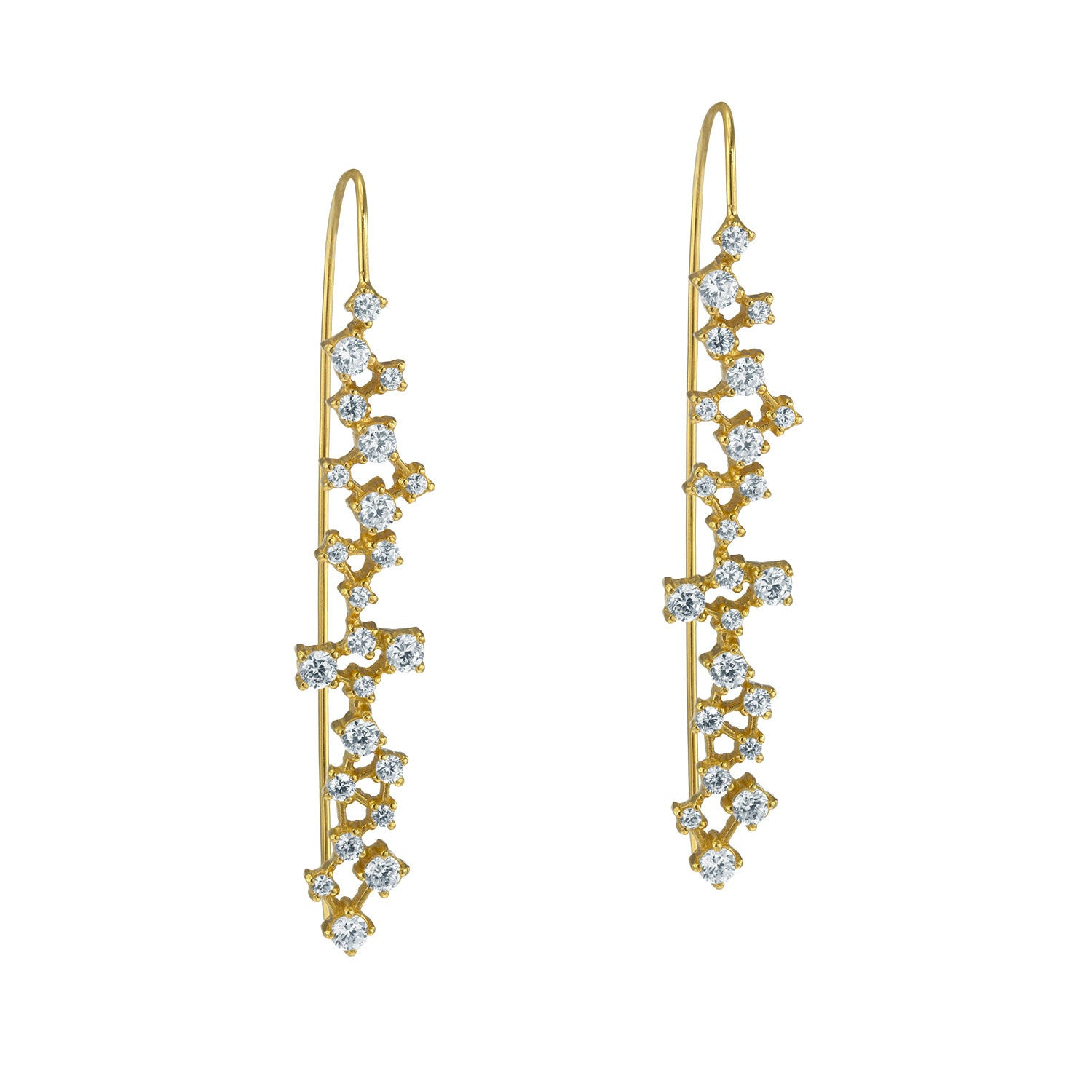 """CLUSTER LOVE"" 18K GOLD PLATED OVER STERLING SILVER CUBIC ZIRCONIAS THREADER EARRINGS"