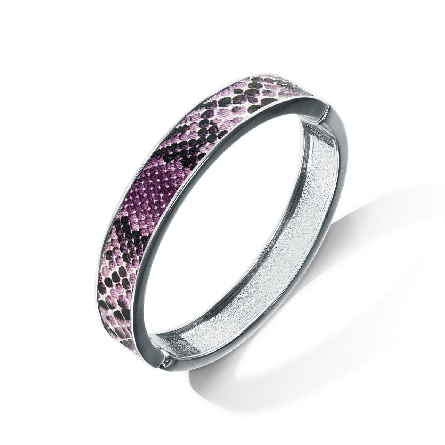 """Sabi Colori"" Purple Haze Python Inlay Thin Hinge Bangle- Silvertone"
