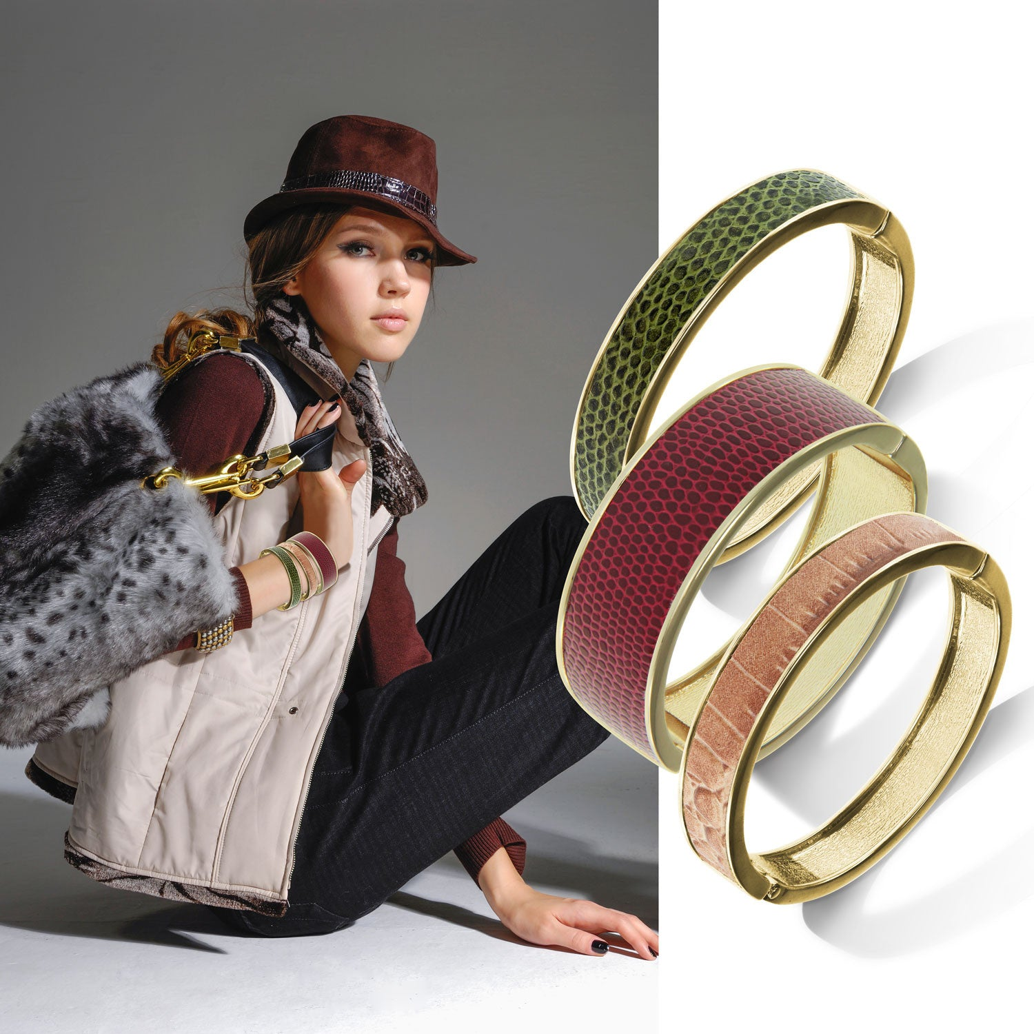 """Sabi Colori"" Lizard Inlay Wide Hinge Bangle -Goldtone More Colors"