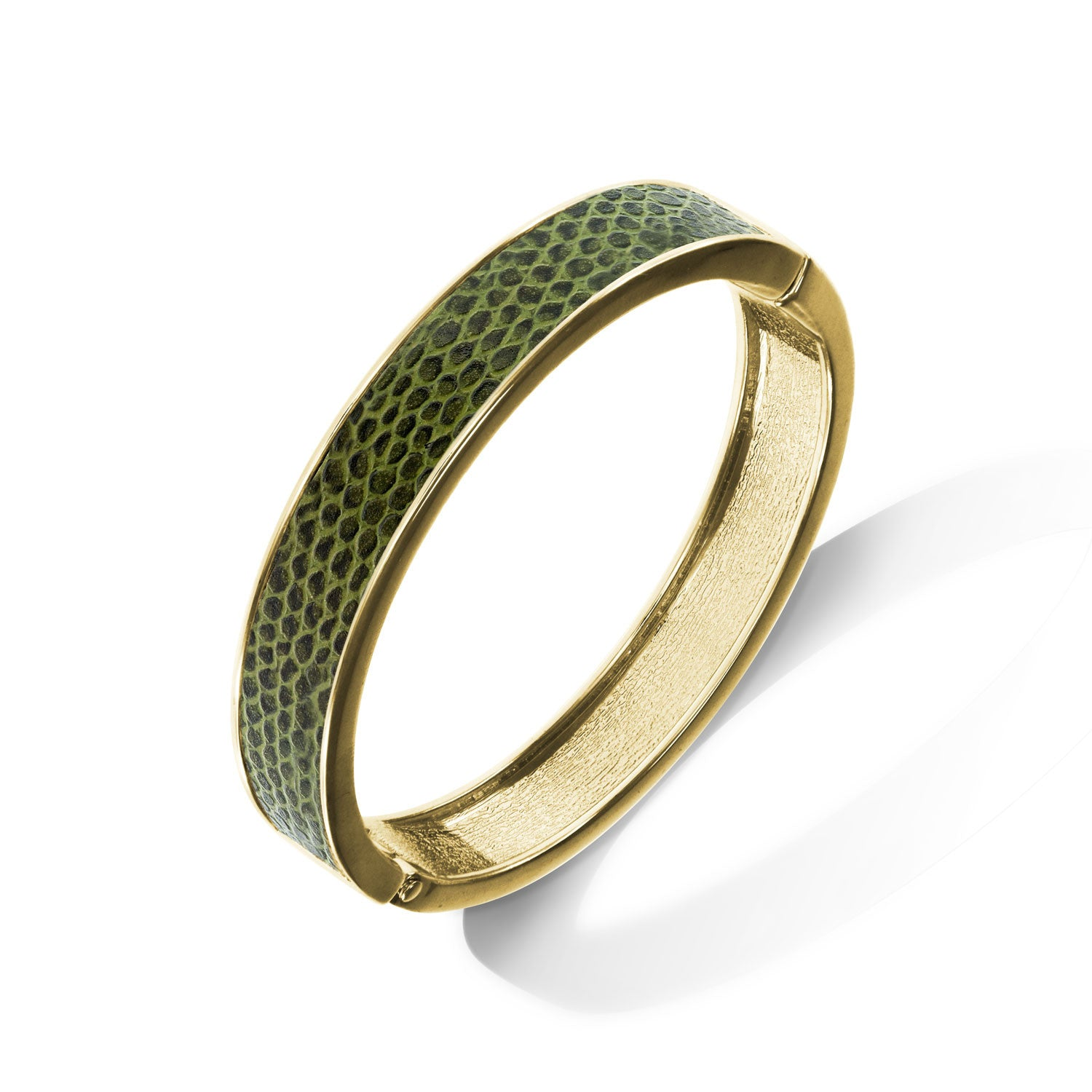 """Sabi Colori"" Meadow Green Lizard Inlay Thin Hinge Bangle -Goldtone"