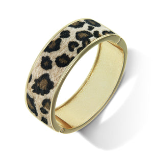 """Sabi Colori"" Leopard Love Mohair Inlay Wide Hinge Bangle- Goldtone"
