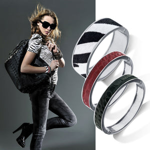 """Sabi Colori"" Noir Black Croco Inlay Thin Hinge Bangle -Silvertone"