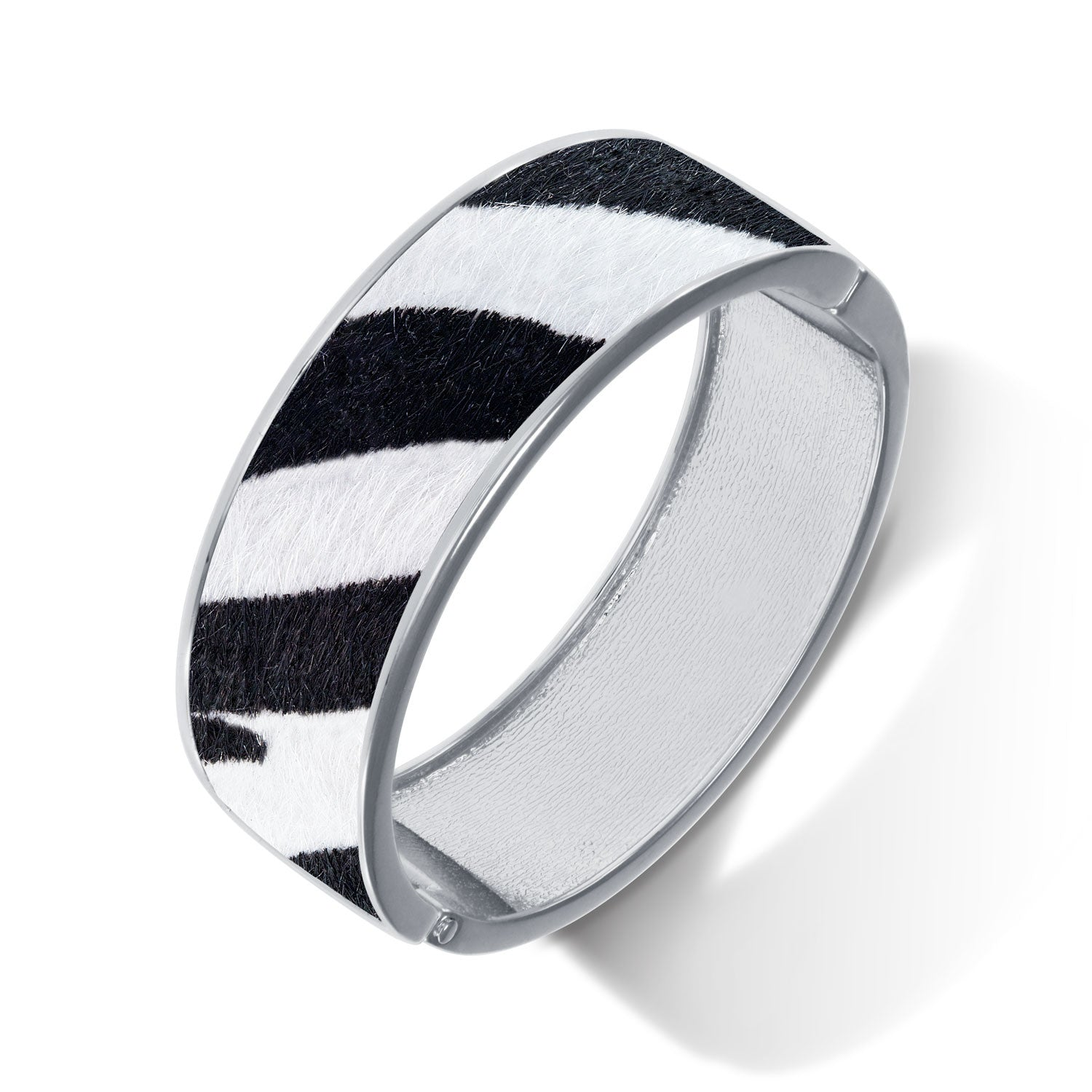 """Sabi Colori"" Zebra Sahara Mohair Inlay Wide Hinge Bangle- Silvertone"