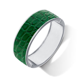 """Sabi Colori"" Twilight Green Croco Inlay Wide Hinge Bangle -Silvertone"