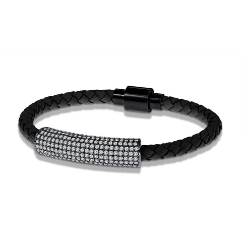 """Icon Forever"" Woven Genuine Leather Bracelet - Hematite - Black"
