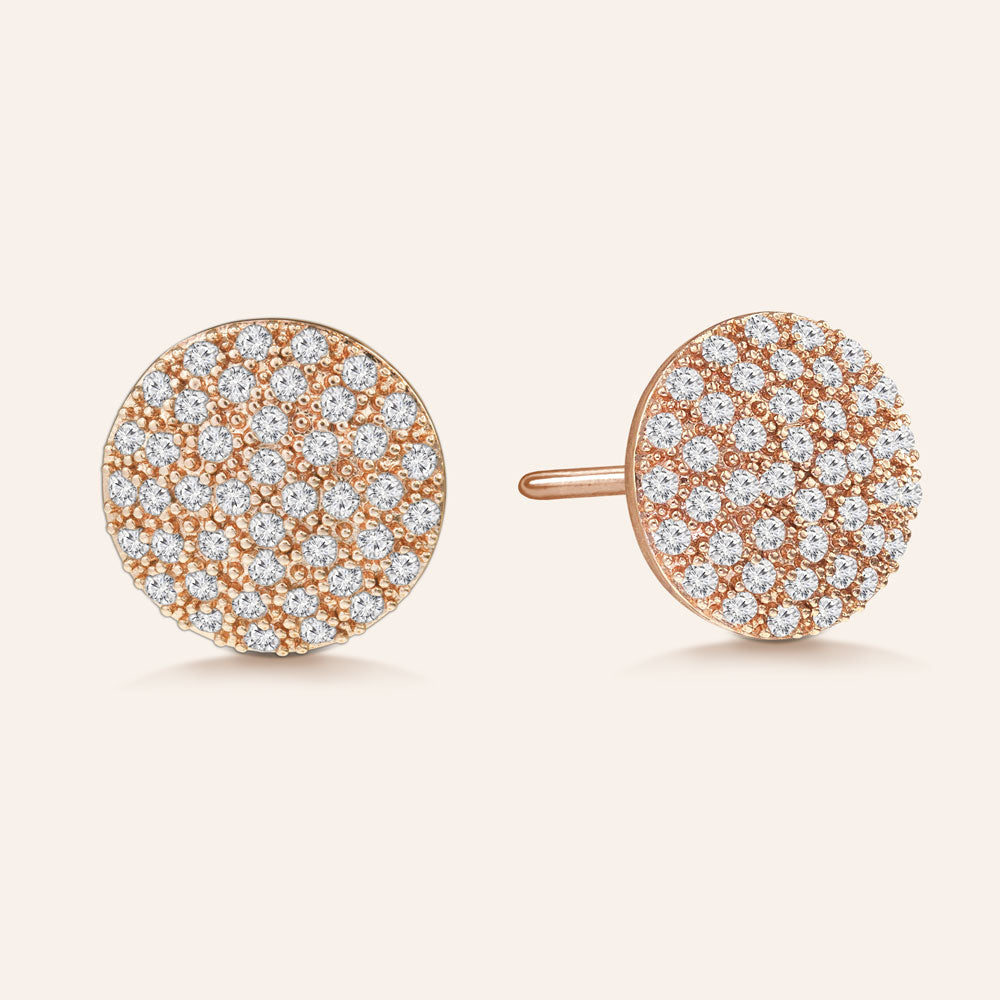 """Perfect Touch"" 1.2ctw Pave Circle Stud Earrings More Colors"
