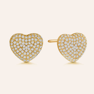 """Secret Love"" 2.0ctw Pave Heart Stud Earrings"