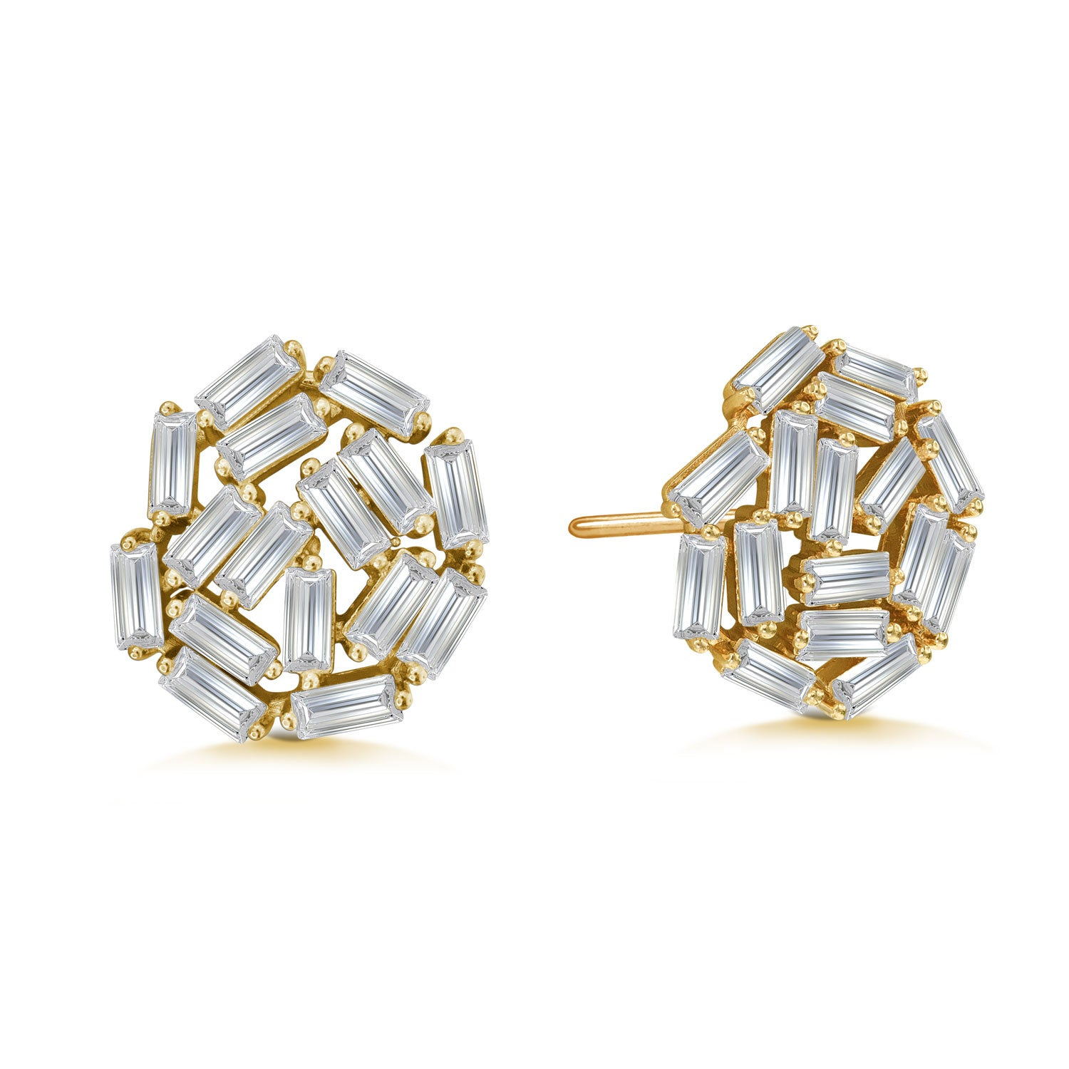 """Shine Bright"" 5.4ctw Baguette Cluster Stud Earrings"
