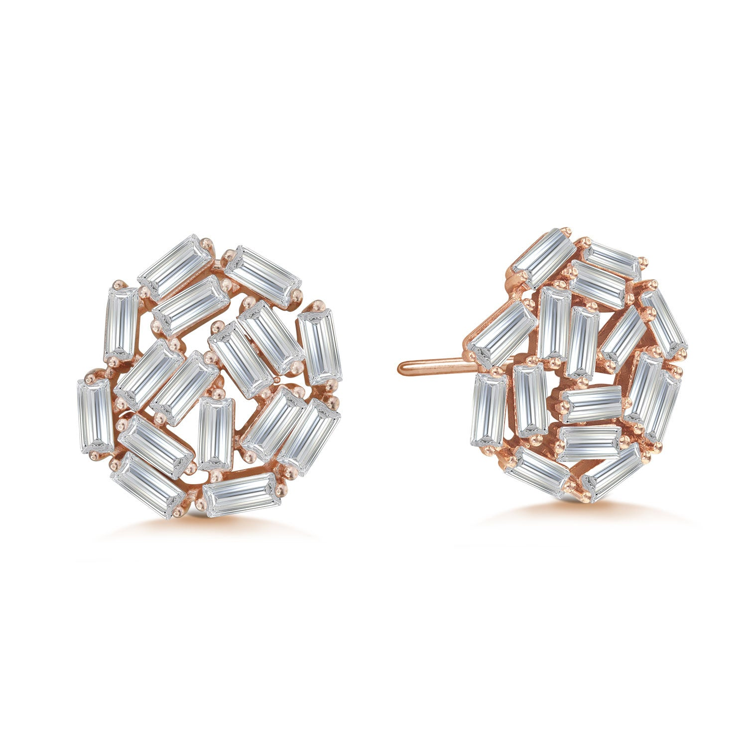 """Shine Bright"" 5.4ctw Baguette Cluster Stud Earrings More Colors"