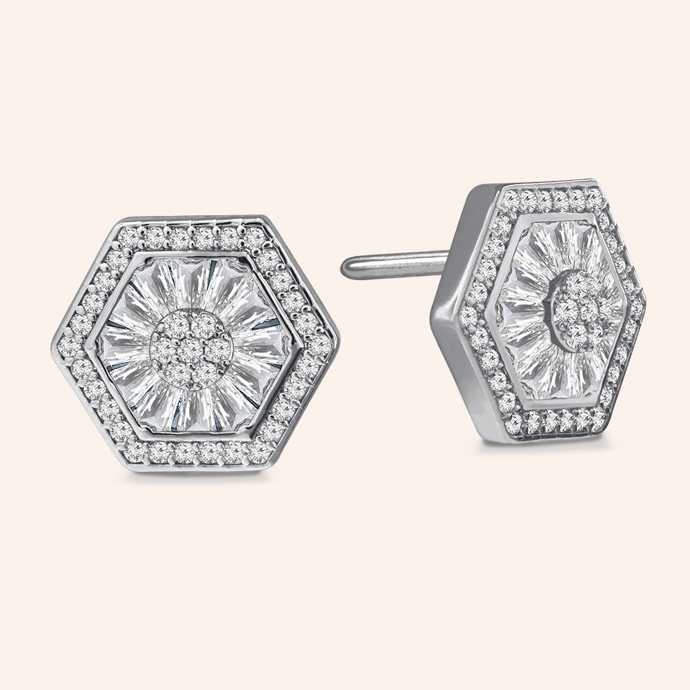 """Deco Delight"" 4.9ctw Baguette Hexagonal Cluster Stud Earrings"