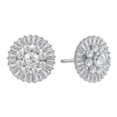 """Majesty Bloom"" 7.8ctw Baguette Circle Cluster Stud Earrings More Colors"