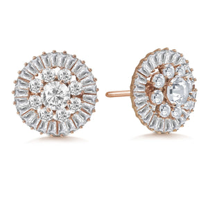 """Majesty Bloom"" 7.8ctw Baguette Circle Cluster Stud Earrings"