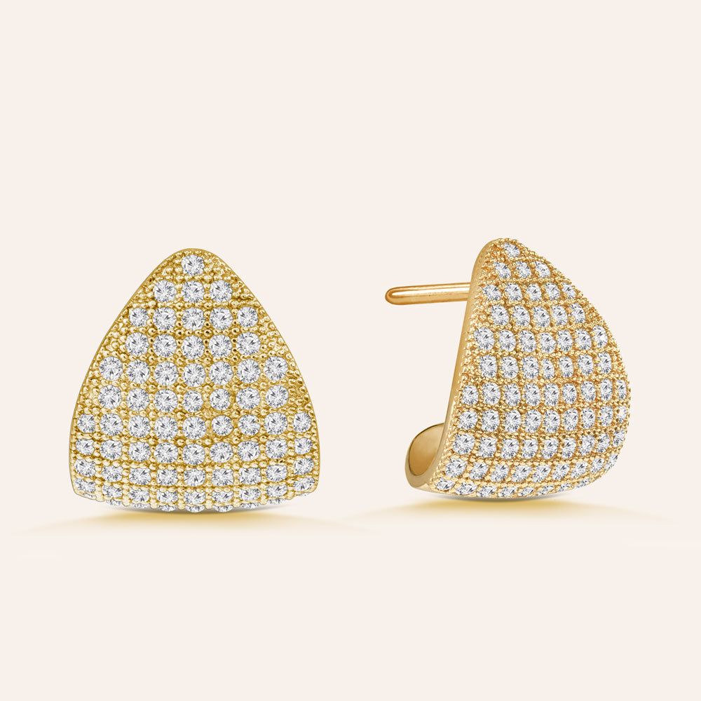 """Time to Dazzle"" 3.2 ctw Pave Dome Crescent Shape Earrings"