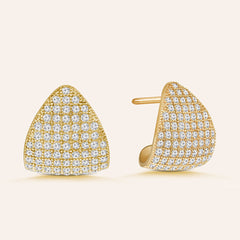 """Time to Dazzle"" 3.2 ctw Pave Dome Crescent Shape Earrings More Colors"