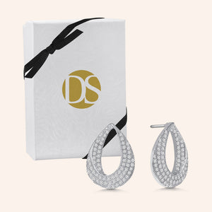 """Magic Twist"" 1.3ctw Pave Open Teardrop Earrings"