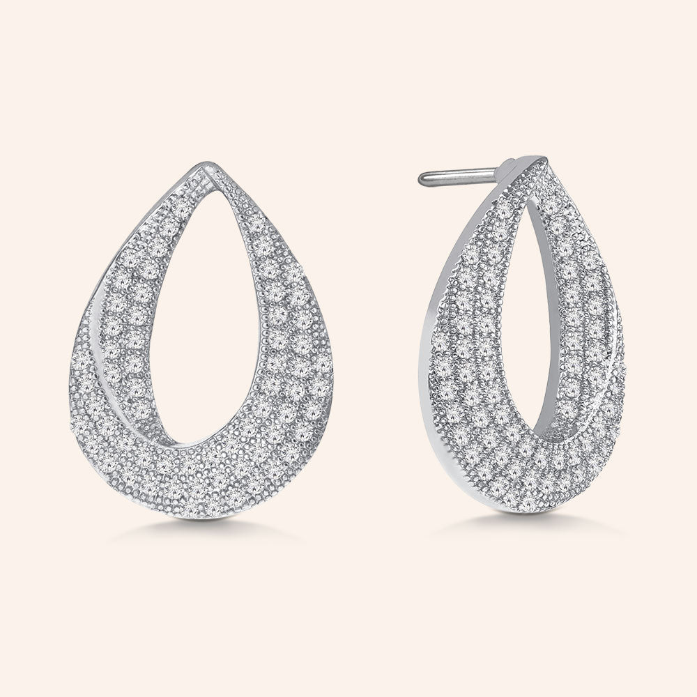 """Magic Twist"" 1.3ctw Pave Open Teardrop Earrings More Colors"