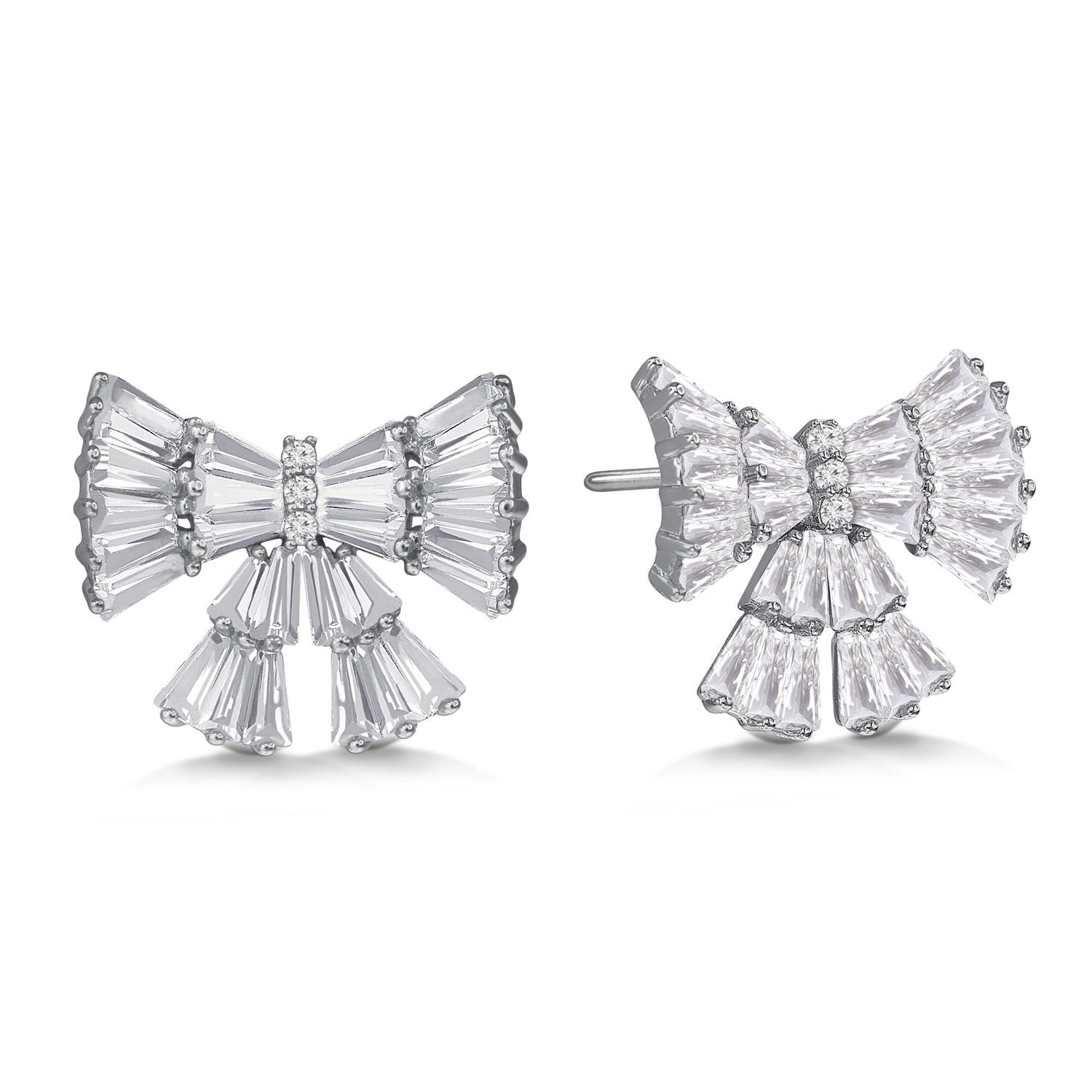 """Sparkle in Lace"" 7.8ctw Baguette Bow Earrings More Colors"