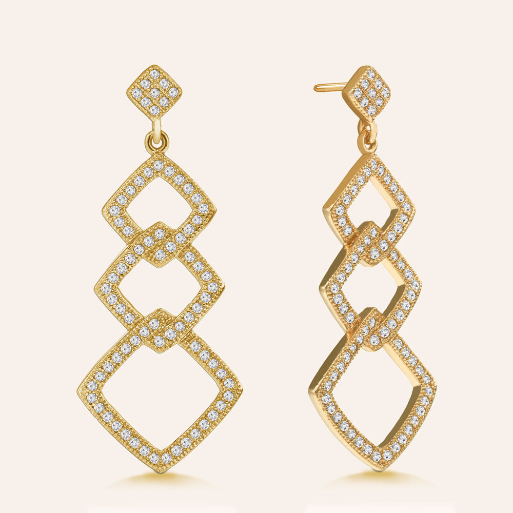 """Delicate Links"" 1.6ctw Pave Open Links Drop Earrings More Colors"