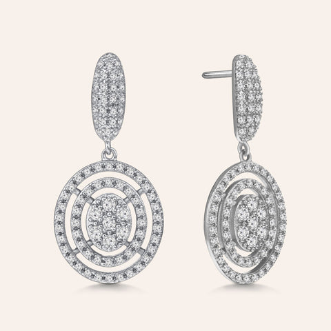 """All that Glam"" 3.5ctw Pave Double Diamond Drop Earrings More Colors"