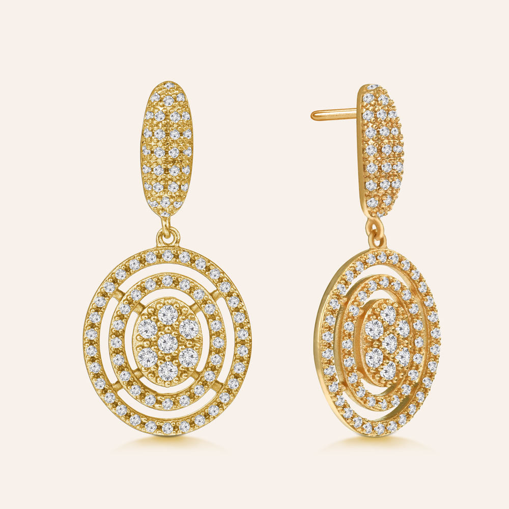 """Romantic Retro"" 2.0ctw Pave Oval Drop Earrings More Colors"
