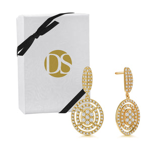 """Romantic Retro"" 2.0ctw Pave Oval Drop Earrings"